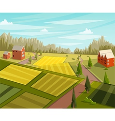 farm fresh rural landscape with farmhouse vector image