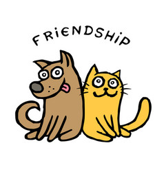 Friendship dog kik and cat tik best friends vector