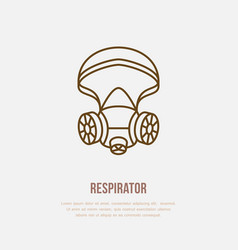 Gas mask respirator flat line icon logo vector