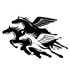 Horses with wings vector image vector image