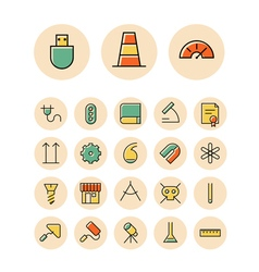 icons thin red science industrial vector image vector image