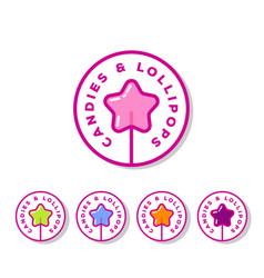 logo sweets cookies shop lollipop star vector image