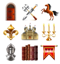 Medieval icons set vector image vector image