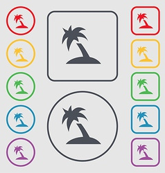 Palm tree travel trip icon sign symbol on the vector