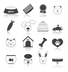 Pets icons set black vector image vector image