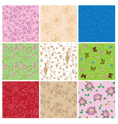 Plants and butterflies on seamless patterns - set vector