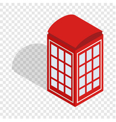 Red telephone booth isometric icon vector