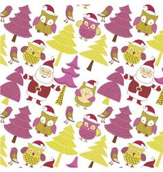 santa and xmas owls vector image vector image