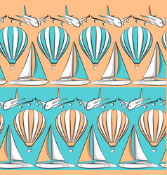 Seamless pattern with boat airplane air balloon vector