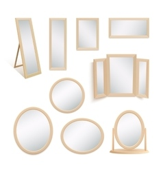 Set of mirrors isolated on white background vector image