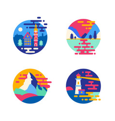 Set of wild nature and city lanscape vector