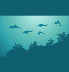 Silhouette of dolphin on the sea landscape vector