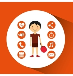 sportsman ping pong apps icons vector image vector image