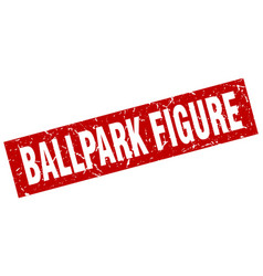 Square grunge red ballpark figure stamp vector