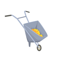 Trolley with gold ore mining industry concept vector