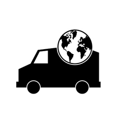truck or van and earth globe icon vector image vector image