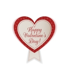 Valentines day realistic textile heart emblem vector