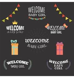 Welcome baby girl baby girl arrival postcards baby vector