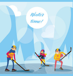 winter scene with happy family in mountains on vector image vector image