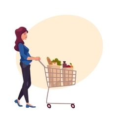 Young pregnant woman pushing shopping cart with vector