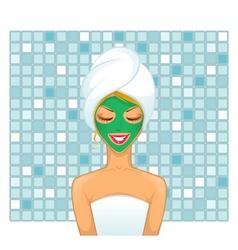Young woman in bathroom vector image