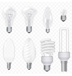 Realistic energy saving light bulbs lamps vector