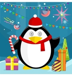 Penguin with candy stick near christmas presents vector