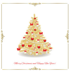 Christmas tree decorated in gold and red colors vector image