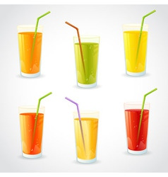 Colorful set of realistic glasses with juice vector