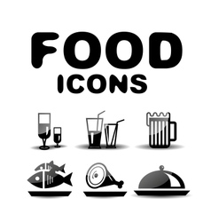 Food black glossy icon set vector