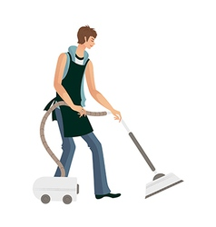 Man holding vacuum pump vector