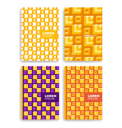 Set of abstract square pattern for cards with vector