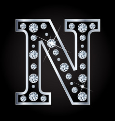 N letter made with diamonds isolated on vector