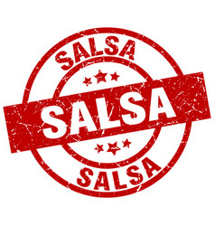 Salsa round red grunge stamp vector