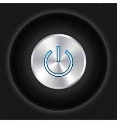 Power button on carbon fiber background vector