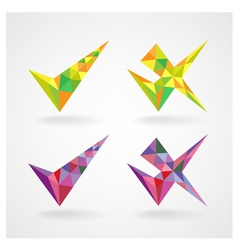 Geometric confirm and rejected icons vector