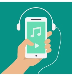 Hand and smartphone with music player app vector