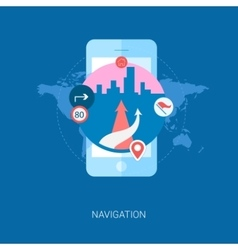 Road navigation in the city on smartphone flat vector