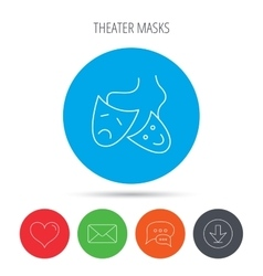 Theater masks icon drama and comedy sign vector