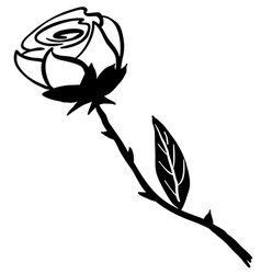 Simple black and white rose vector