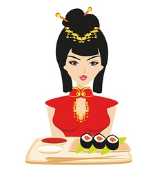 Sushi and geisha vector