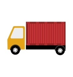 Truck and container on side view graphic vector