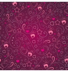 Abstract background with hearts and stars vector image
