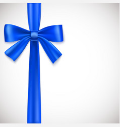 Blue ribbon with bow vector image