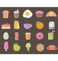 Breakfast Different stickers collection vector image vector image