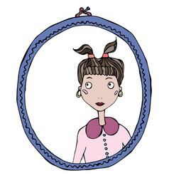 cartoon cute adorable girl in the mirror frame vector image vector image