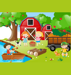 Children picking up apples in the orchard vector