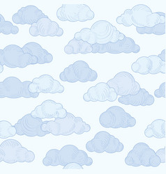 cloud doodle line pattern cloudy sky seamless vector image