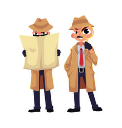 Detective character looking through magnifying vector
