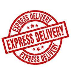Express delivery round red grunge stamp vector